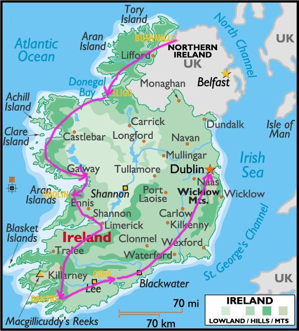 Carte-Irlande-Road trip-voyage-vacances